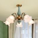 Flower Shade Ruffle Glass Semi Flush Traditional Living Room Ceiling Mount Chandelier