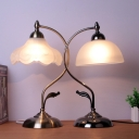Single-Bulb Nightstand Lamp Traditional Dome Cream Glass Table Lighting for Living Room