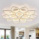 Leafy LED Semi Flush Mount Ceiling Light Modern Acrylic Living Room Flushmount in White