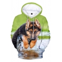 Cozy Men's Hoodie Doggy 3D Print Front Pocket Long Sleeve Relaxed Fit Drawstring Hooded Sweatshirt