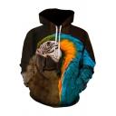 Cozy Men's Hoodie Parrot Digital 3D Pattern Front Pocket Long Sleeve Drawstring Hooded Sweatshirt