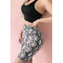 Womens High Waist Fashion Snakeskin Printed Skinny Fit White Yoga Shorts