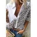 Leisure Women's Shirt Contrast Leopard Panel Button Closure Turn-down Collar Long Sleeves Regular Fitted Shirt Blouse