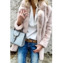 Leisure Women's Coat Solid Color Fur Fleece Open Front Notched Collar Long Sleeves Regular Fitted Coat