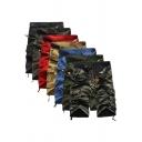 Fancy Men's Shorts Solid Color Zip Fly Pocket Mid Waist Flap Pocket Straight Regular Fitted Shorts