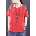 Ethnic Girls T-shirt Linen and Cotton Floral Embroidery Short Sleeve Round Neck Relaxed T Shirt