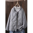Leisure Womens Coat Quilted Stringy Selvedge Long Sleeve Press Button Relaxed Plain Coat