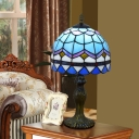 Blue Dome Night Table Light Mediterranean 1-Light Hand Cut Glass Night Stand Lamp