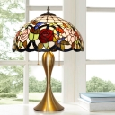 Brass 3-Bulb Pull-Switch Table Light Decorative Stained Glass Bowl Night Lamp with Bird and Flower Pattern