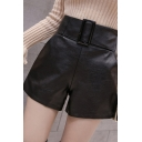 Fashion Womens Shorts Leather Belted Waist Relaxed Fit Plain Shorts