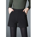 Simple Womens Shorts Wool High Rise Solid Color Relaxed Shorts