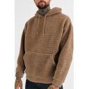 Trendy Men's Hoodie Fur Fleece Solid Color Front Pocket Long Sleeves Drawstring Hooded Sweatshirt