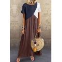Trendy Women's T-Shirt Dress Contrast Panel Color Block Boat Neck Short Sleeves Pleated Detail Long T-Shirt Dress