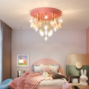 Starry Clear Glass Ceiling Light Kids Style Flush Mount Fixture with Unicorn Decorations