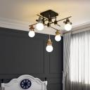 Creative Animal Head Semi-Flush Mount Ceiling Light Metallic Kids Bedroom Flush Light Fixture in Black