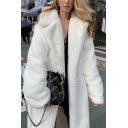 Womens Popular Winter Warm Long Sleeve Open Front Faux Fur White Longline Coat