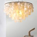Shell Ceiling Hang Light Coastal Gold Circles Dining Room Chandelier Light Fixture