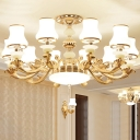 Frosted Glass White Ceiling Suspension Lamp Curve-Shaped Antique Chandelier Light