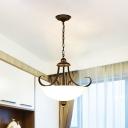Frosted Glass Bowl Chandelier Pendant Light Vintage 3 Bulbs Living Room Hanging Light in Black