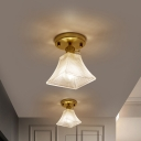 Tapered Hallway Semi Flush Mount Light Simple Clear Glass Single Gold Ceiling Lamp
