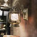 Bronze Finish Lantern Wall Light Sconce Nautical Metal 1 Head Foyer Wall Lamp Fixture