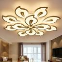 Petal Living Room Flush Ceiling Light Fixture Acrylic Modern LED Semi Flush Mount Lamp in White