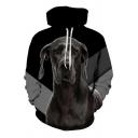 Unique Men's Hoodie Animal Dog Cat 3D Pattern Drawstring Hooded Sweatshirt