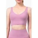 Girls Sexy Tank Solid Color V-neck Slim Fit Cropped Running Tank Top