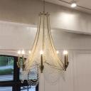 Gold Faux Candle Pendant Lighting Vintage Crystal Bead Bedroom Ceiling Chandelier