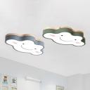 Cloud Shaped LED Flush Mount Ceiling Fixture Cartoon Acrylic Nursery LED Flush Light in Wood