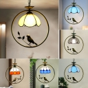 Scalloped Stained Glass Ceiling Light Rustic 1 Bulb Suspension Pendant Light for Tearoom