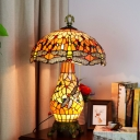 Orange 3 Lights Pull-Chain Table Lamp Tiffany Stained Glass Mushroom Shaped Night Light with Dragonfly Pattern