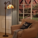 Orange Sunflower Patterned Floor Light Tiffany Single-Bulb Stained Glass Stand Up Lamp