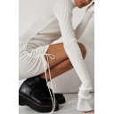 Chic Girls Dress Ribbed Long Sleeve Mock Neck Drawstring Sides Solid Short Fitted Dress