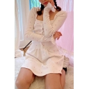 Lovely Girls Dress Ribbed Ditsy Floral Print Long Sleeve Square Neck Button-up Short A-line Dress in White