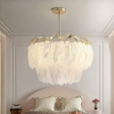 Postmodern Ceiling Hang Lamp Gold Round Chandelier Lighting Fixture with Feather Shade