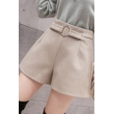 Fashion Ladies Shorts Buckle Decoration High Rise Wool Wide-leg Solid Shorts