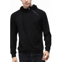 Trendy Men's Hoodie Solid Color Zip Detail Halter Neck Long Sleeves Drawstring Hooded Sweatshirt