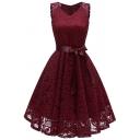 Retro Ladies Dress Lace Sleeveless V-neck Bow Tied Waist Midi Pleated Flared Dress