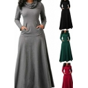 Leisure Womens Dress Solid Color Long Sleeve Cowl Neck Maxi A-line Dress