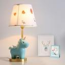 Unicorn Childrens Bedroom Table Lighting Resin Single-Bulb Cartoon Night Lamp with Print Fabric Shade