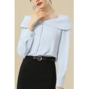 Ladies Work Shirt Long Sleeve Off the Shoulder Pearl Button Loose Fit Shirt in Light Blue