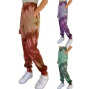 Fashion Womens Pants Tie Dye Print Elastic Waist Ankle Tapered Fit Pants