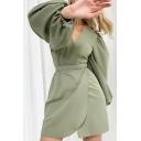 Boutique Womens Dress Blouson Sleeve Surplice Neck Tied Waist Solid Short Wrap Dress