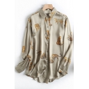 Fancy Women's Shirt Blouse Tiger Pattern Satin Button Closure Point Collar Long Sleeve Regular Fitted Shirt Blouse