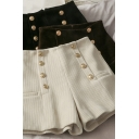Fashionable Women's Shorts Solid Color Button Detailed Corduroy High Waist Straight Shorts