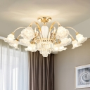 Frost Glass Bell Flower Chandelier Traditional Bedroom Pendant Ceiling Light with Clear Crystal Prisms