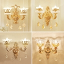 Metal Gold Plated Wall Light Flower Shaped Traditional Sconce Lighting with Crystal Decoration