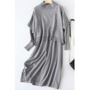 Fancy Women's Set Solid Color Ribbed Trim Mock Neck Sweater with Long Dress Two Piece Set