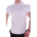 Muscle Tee Top Solid Color Short Sleeve Crew Neck Fitted T Shirt for Guys